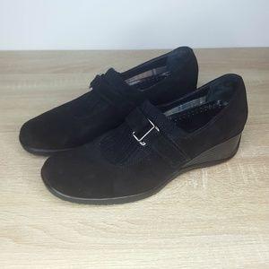 Aquatalia Black Suede Wedge Loafer, Velcro Closure